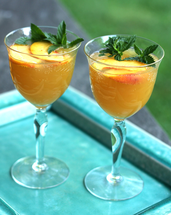 Sweet and sour peach spritzer