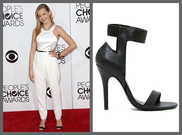 Sadie Calvano wearing basic black ankle strap heels