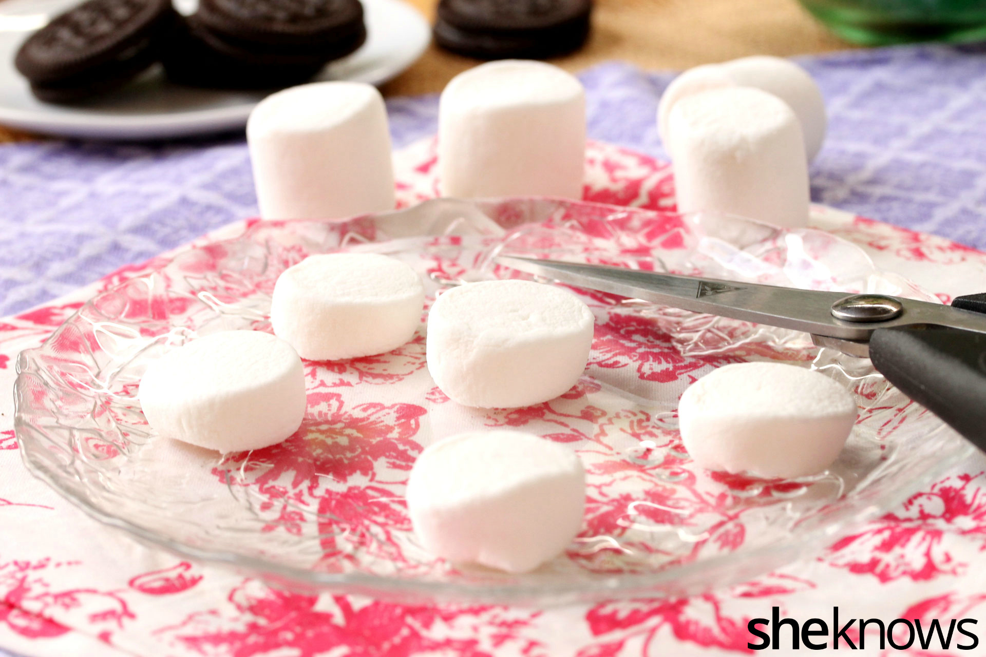 cut marshmallows on plate