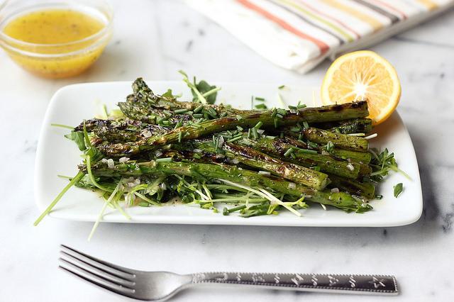 Grilled asparagus spring salad with Meyer lemon shallot vinaigrette