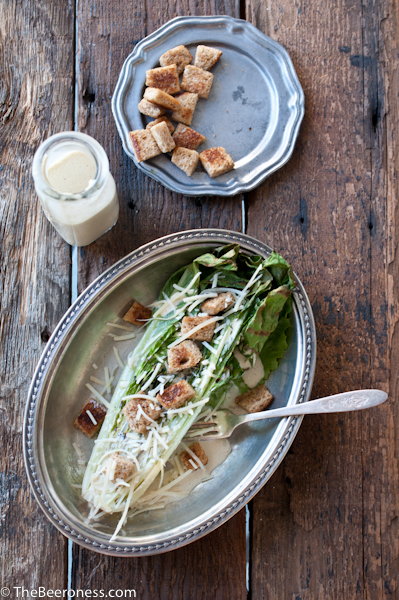 Grilled romaine salad with IPA Caesar dressing