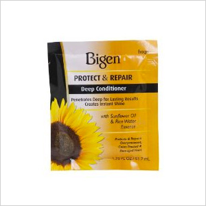 Get the look: Travel Size Bigen Protect & Repair Deep Conditioner For Color-Treated Hair (perfect for the traveling bride) (bigenusastore.com, $2)