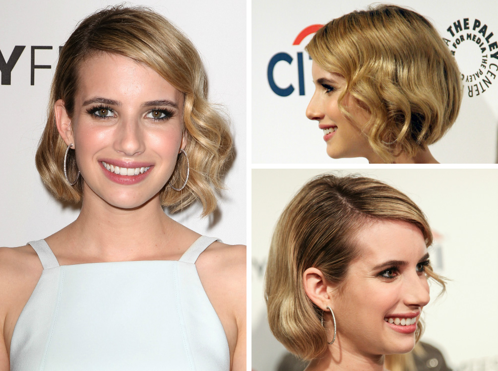 Emma Roberts with hort and sweet hair