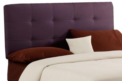 purple tufted headboard