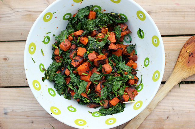 Grilled sweet potato and wilted kale salad