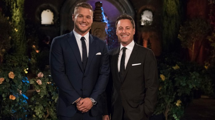 Colton Underwood and Chris Harrison in