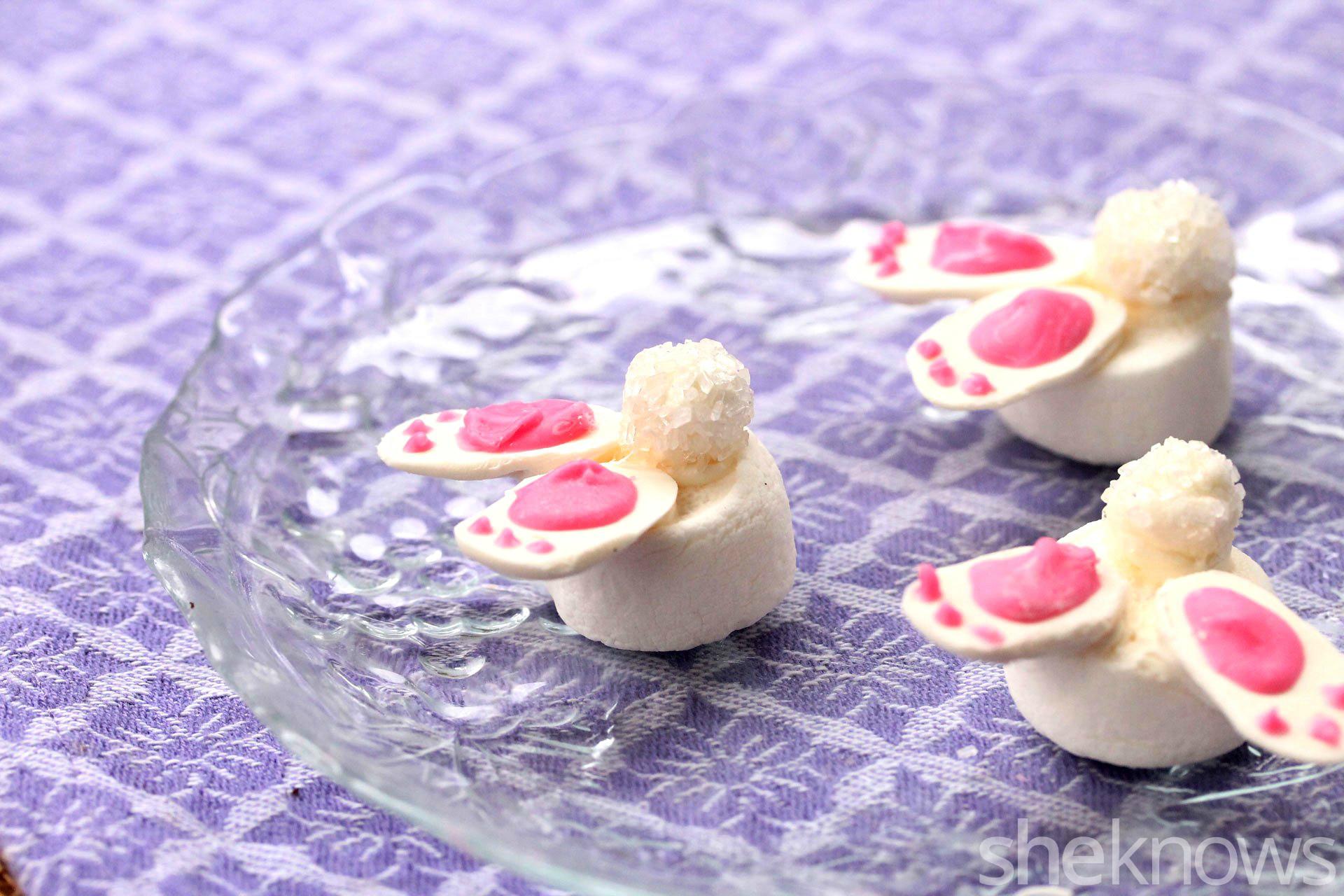 bunny marshmallow feet on plate