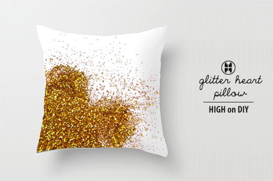 Glittered heart pillow