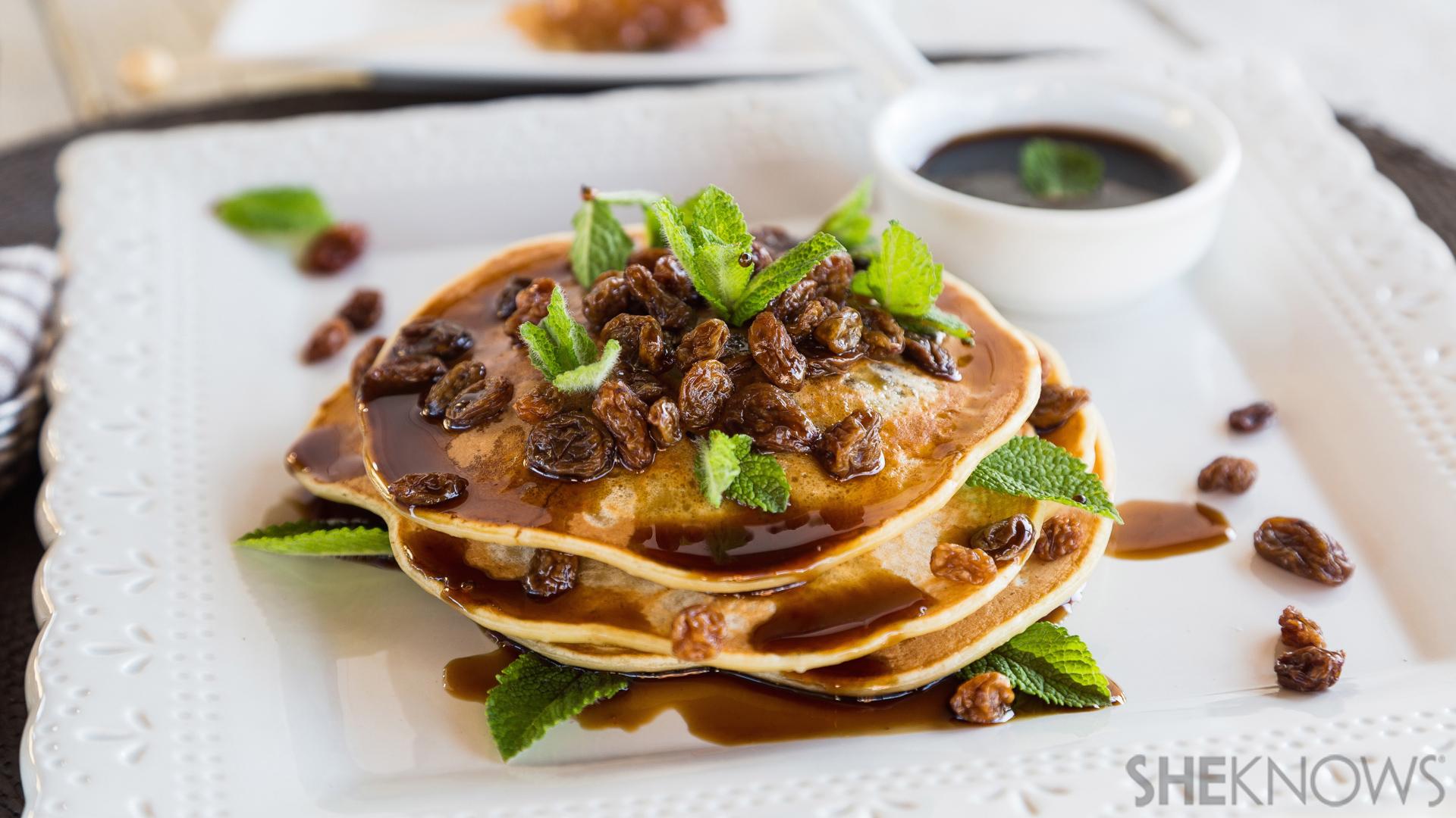 Rum raisin pancakes with rum syrup recipe