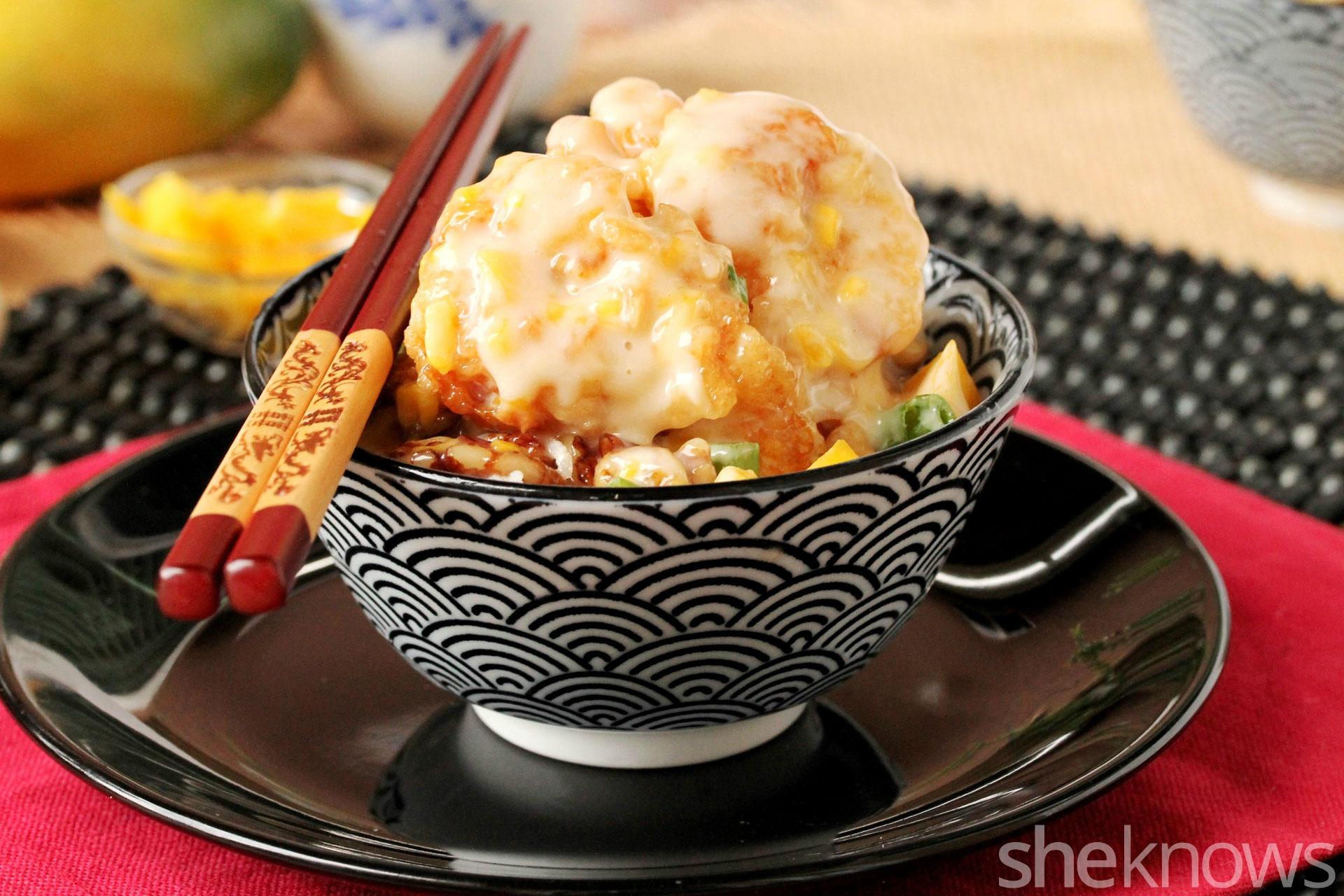 walnut shrimp with mango and garlic with rice