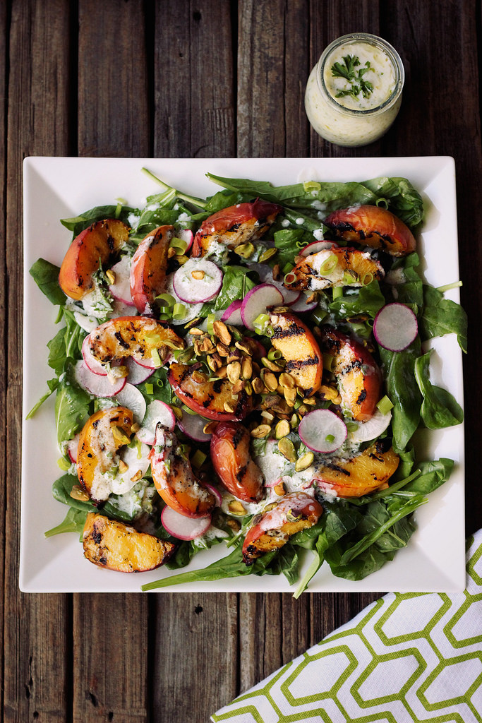 Grilled peach salad with baby arugula