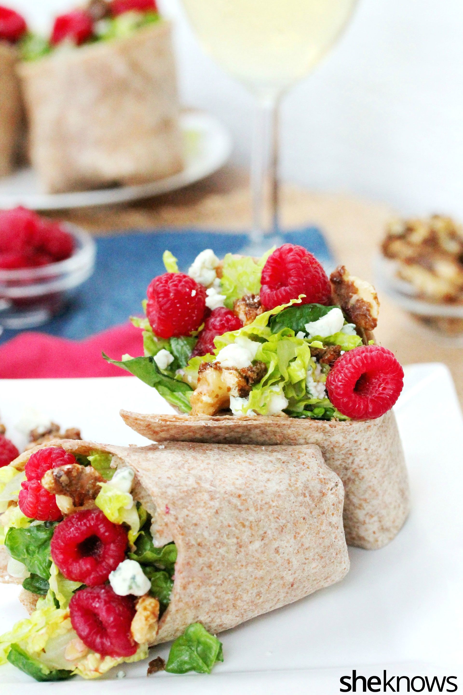 Raspberry spinach wrap on plate