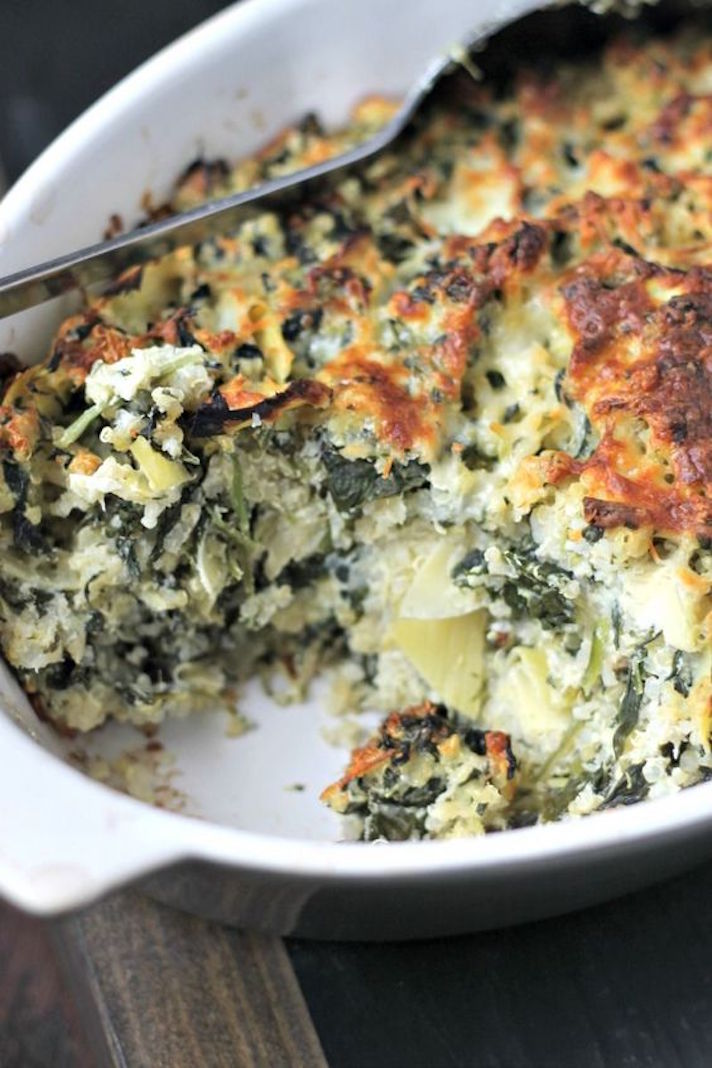 13 Make-Ahead Freezer Meals for Nights When You Just Can't: Easy Spinach Casserole with Artichokes and Quinoa