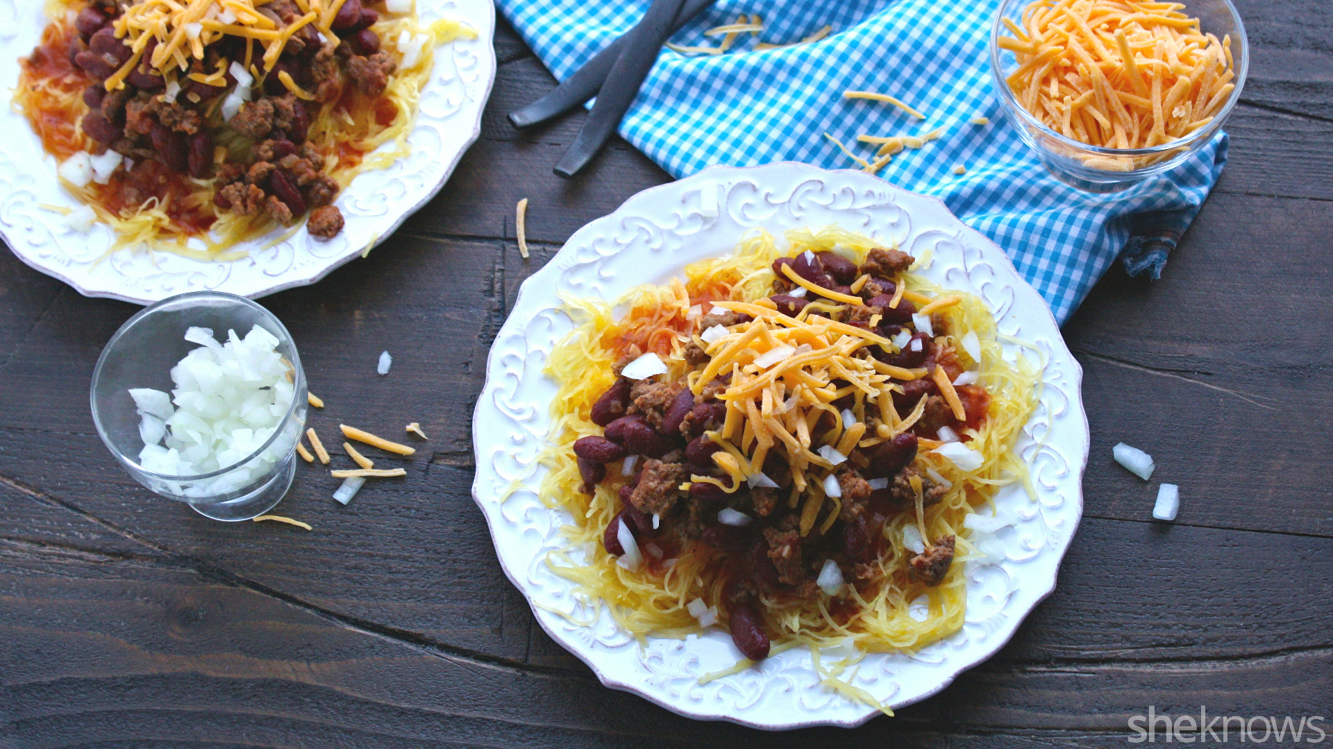 This gluten-free Cincinnati-style chili with spaghetti squash is flavorful and fun!