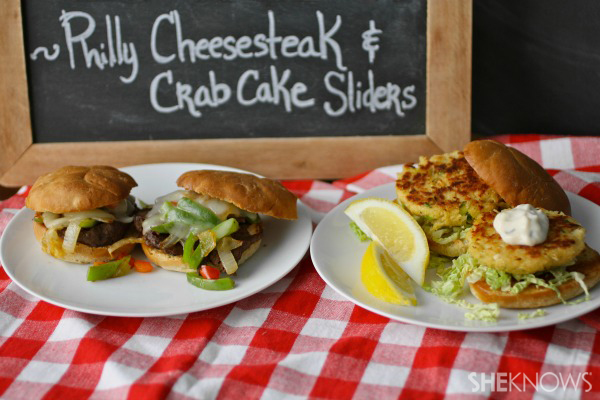 Surf or turf sliders: Philly cheesesteak and crab cake sliders