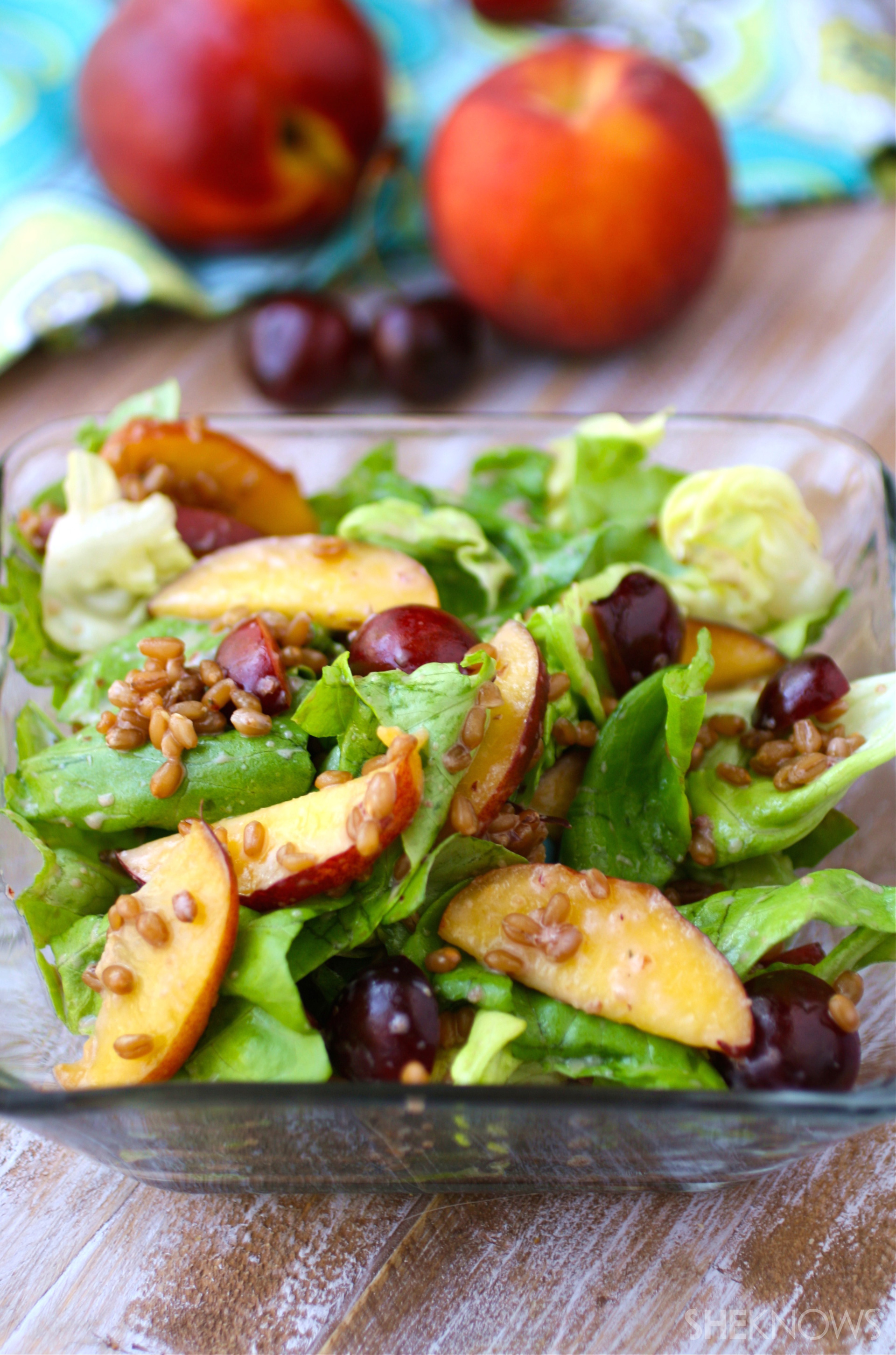 Wheat berry and stone fruit salad with cherry-yogurt dressing