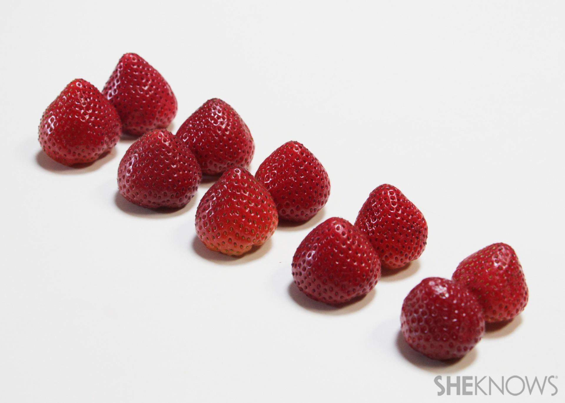 Candy-coated strawberry bikini bites