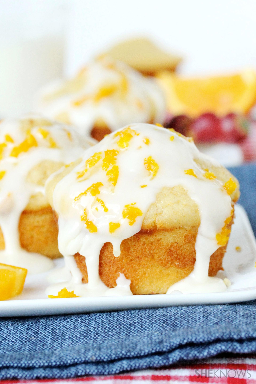 Banana cornbread muffins with orange glaze recipe