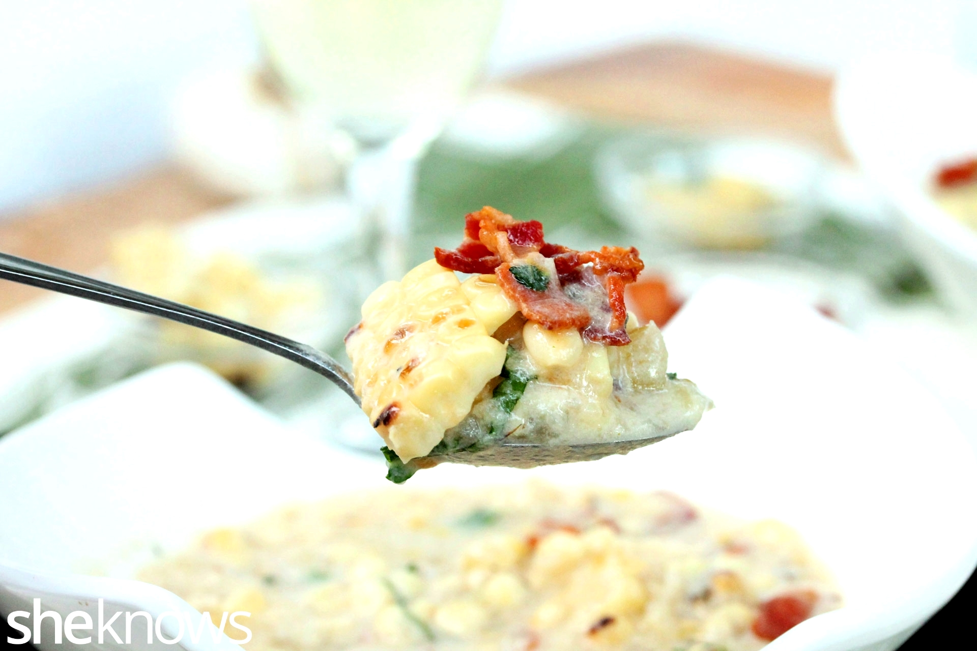 Bite of grilled corn bacon chowder