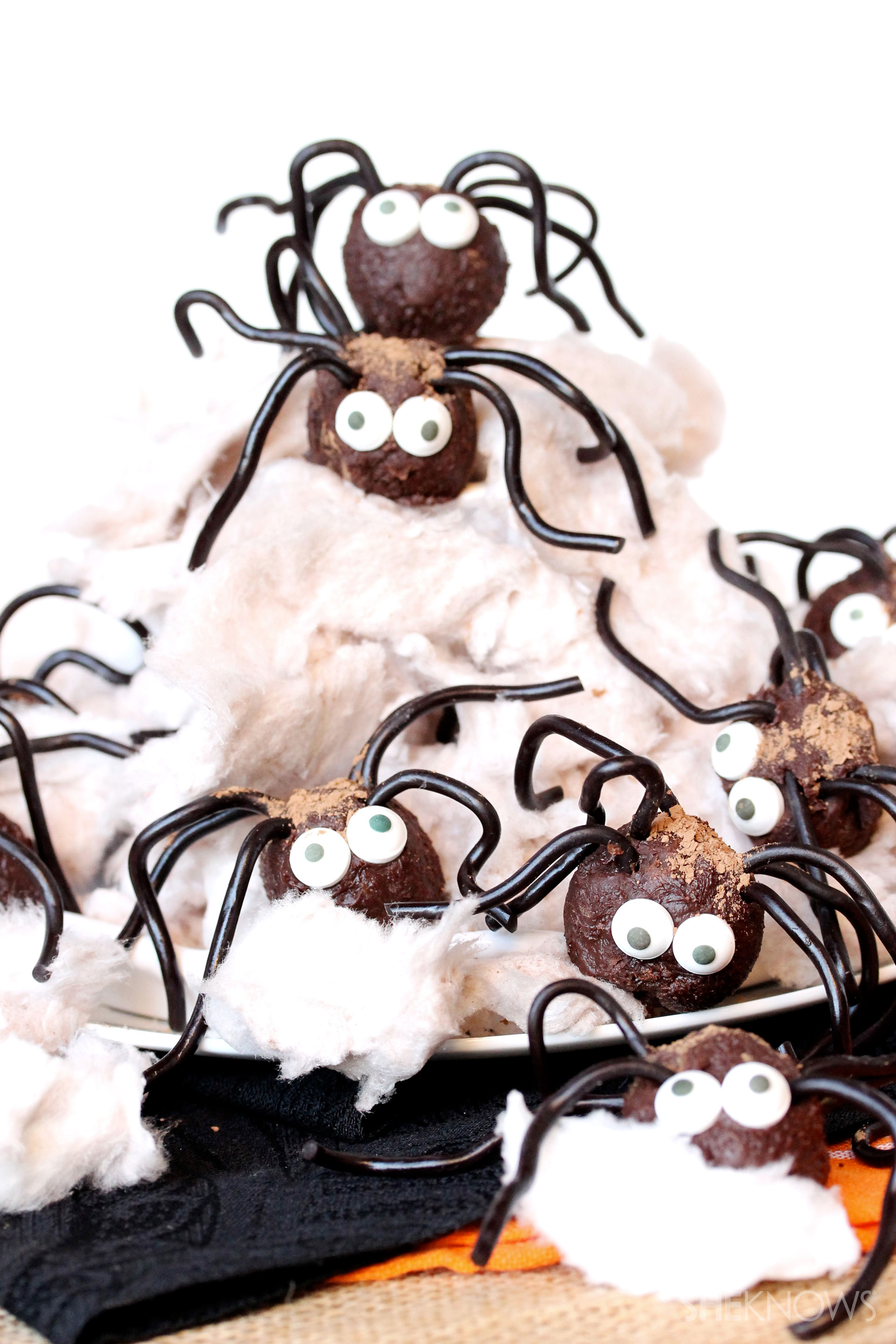 chocolate spiders in an edible web