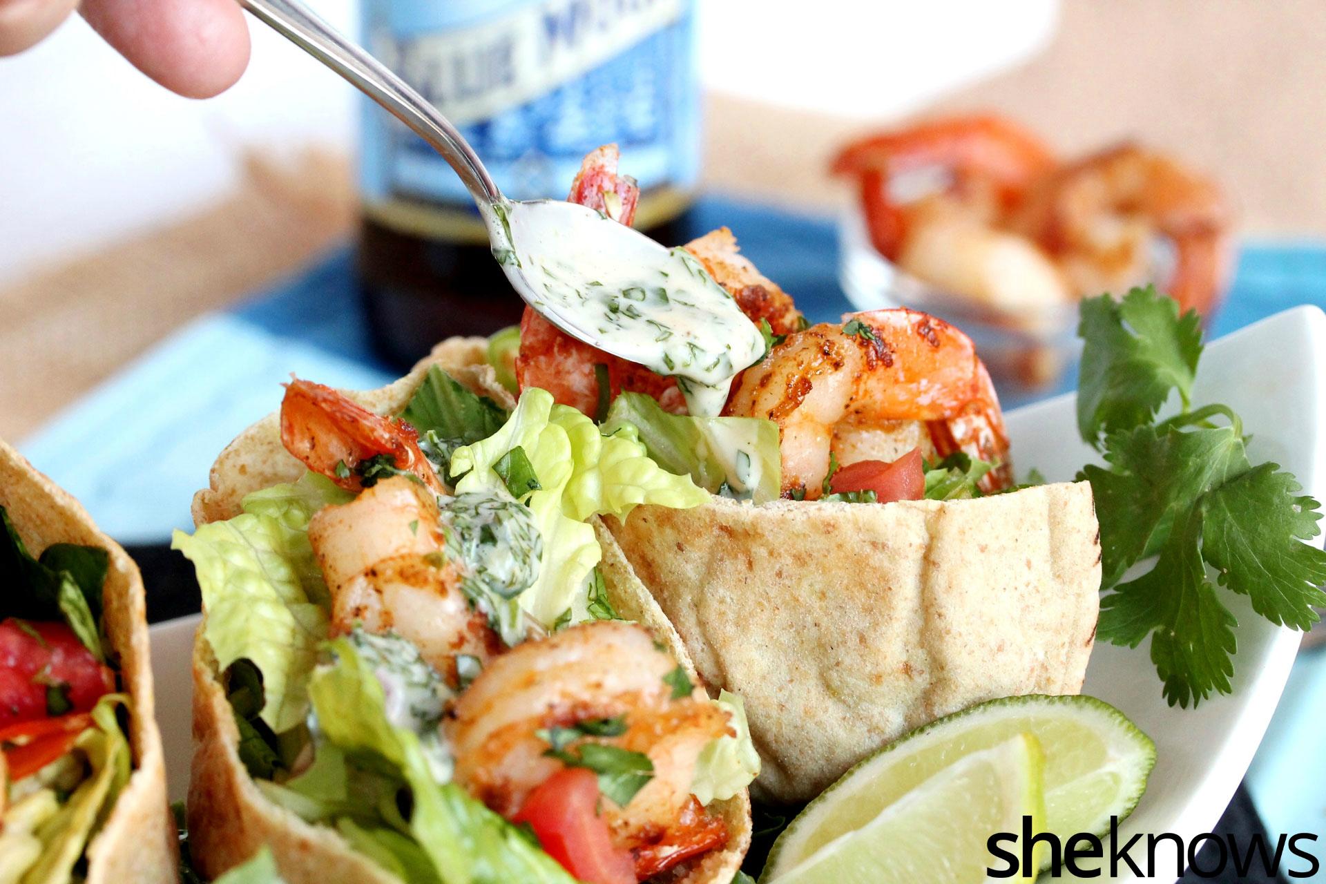 3 Cilantro lime shrimp pitas