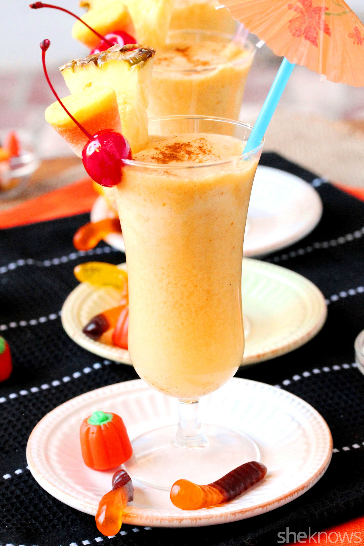 pumpkin pina colada in glass