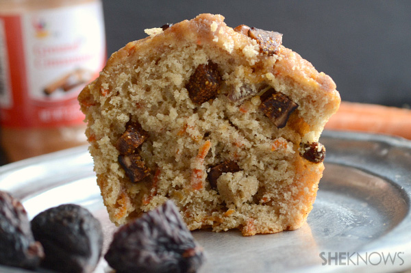 Fig, carrot and walnut muffins