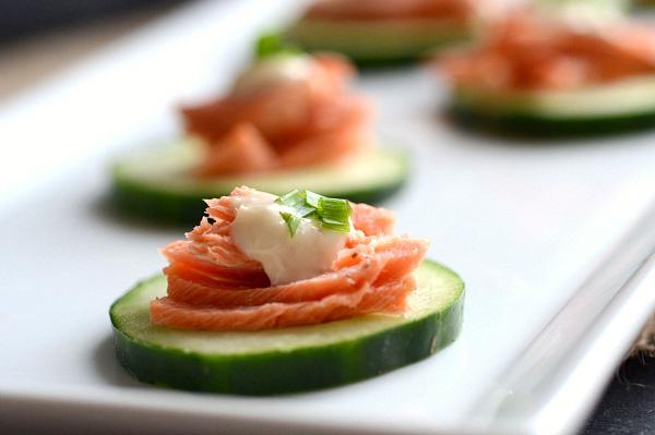 Salmon topped cucumber bites