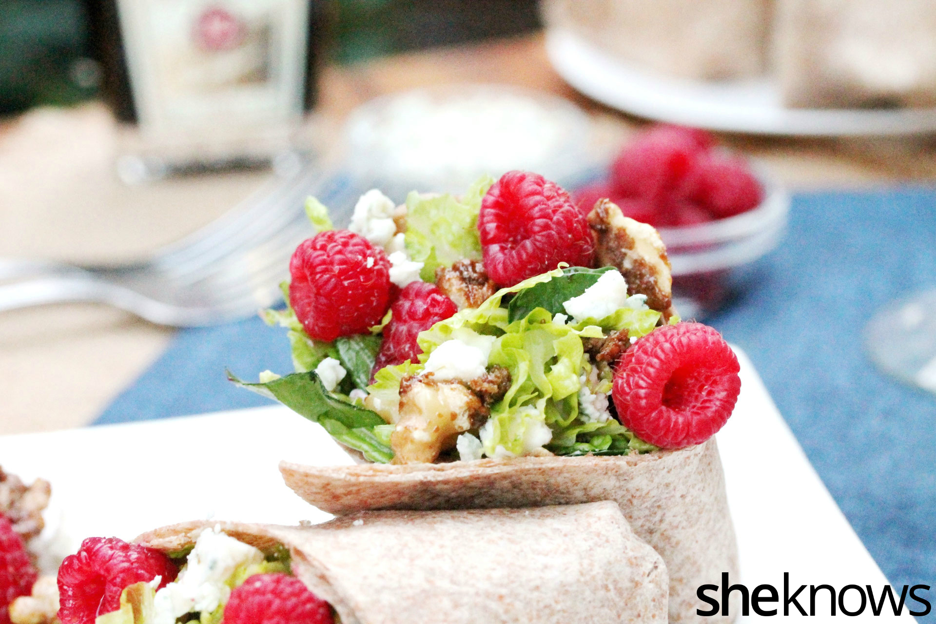 Raspberry blue cheese wrap on plate