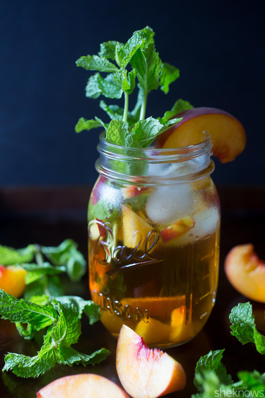 sweet tea peach mint bourbon cocktail