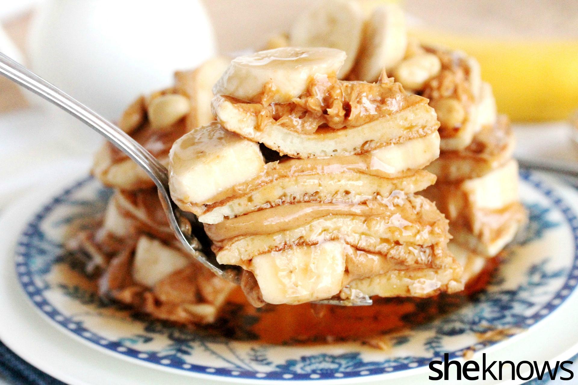 4 peanut butter banana pancake cake