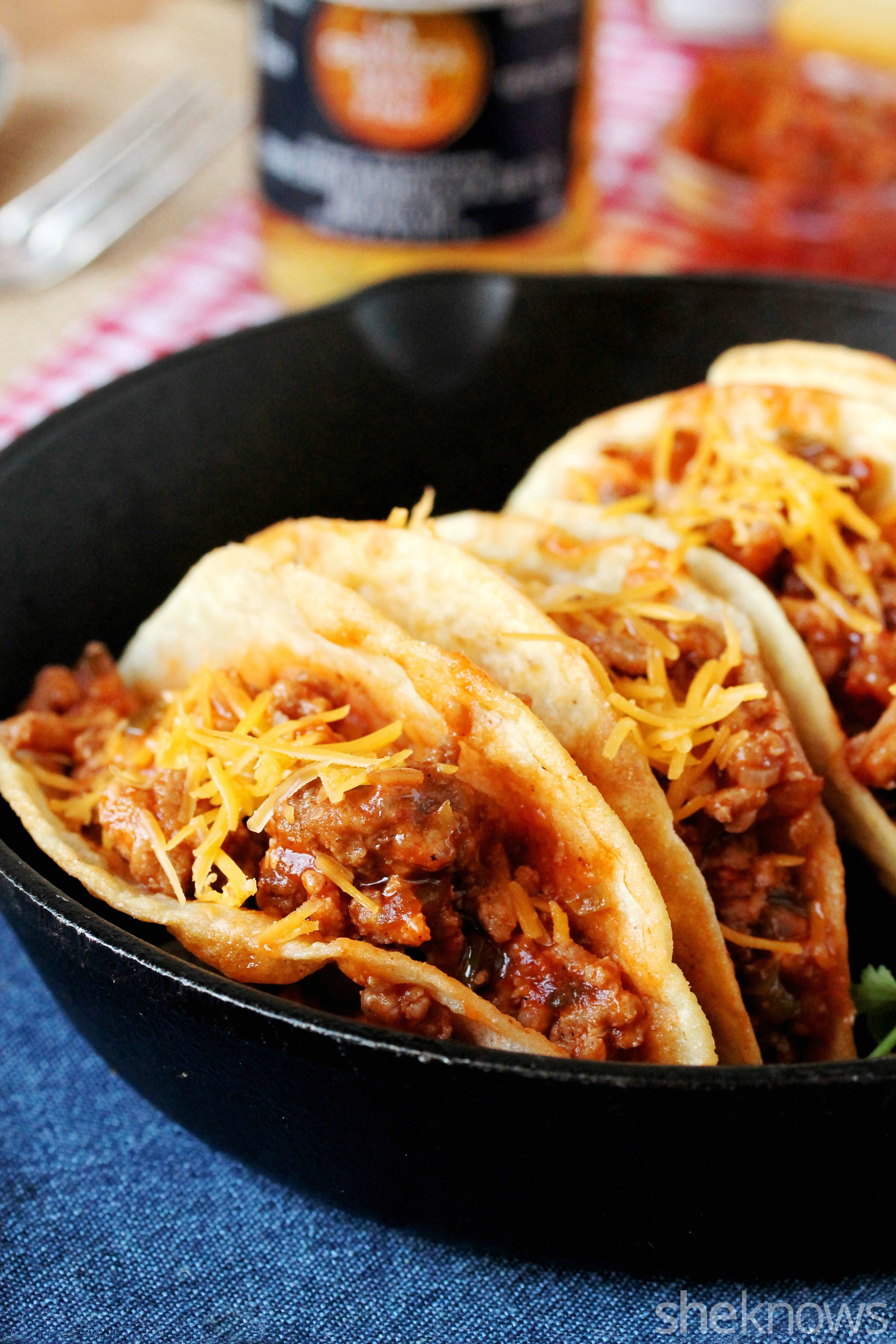 Tacos filled with sloppy joes