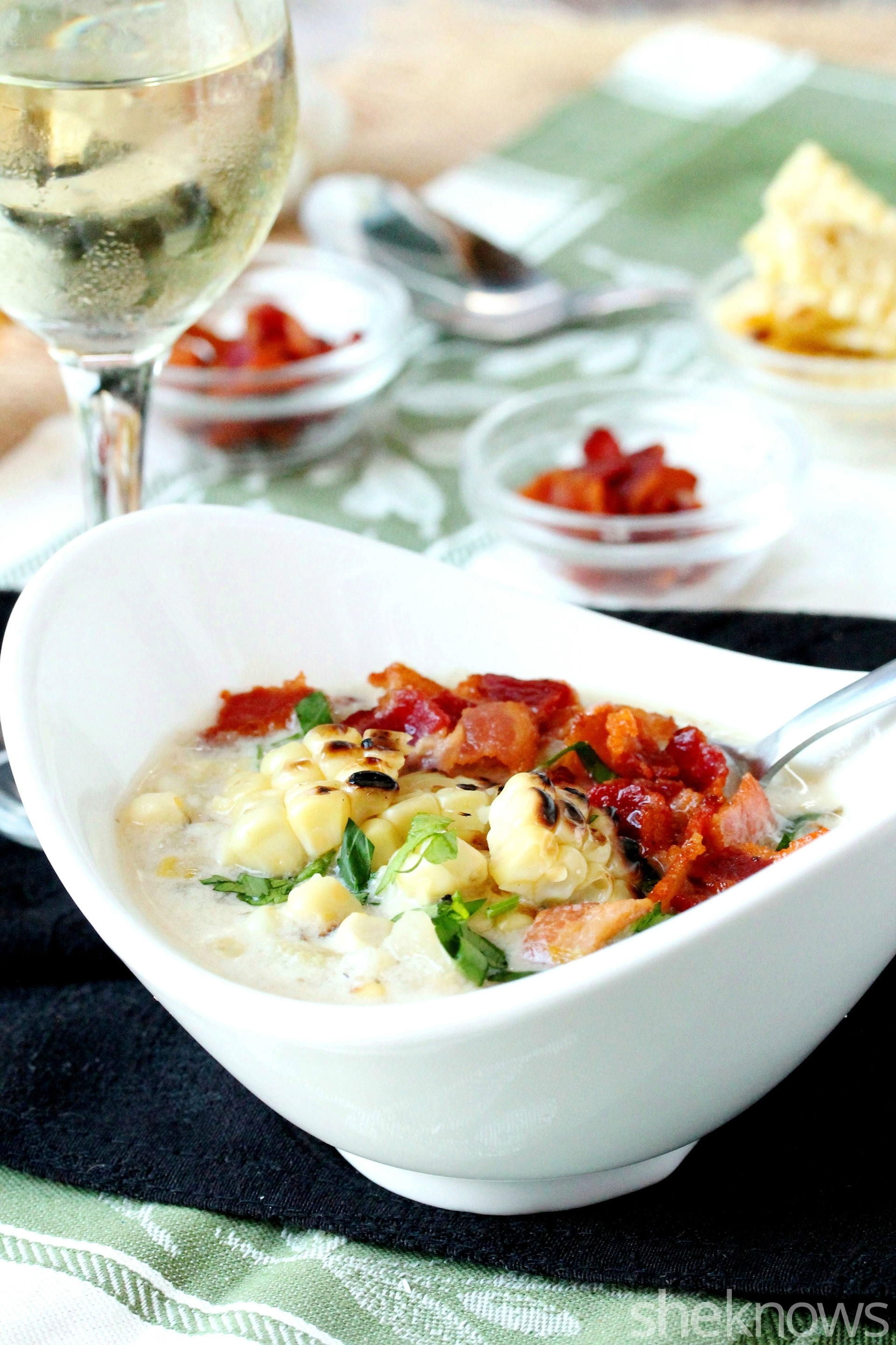 Grilled corn bacon chowder in bowl