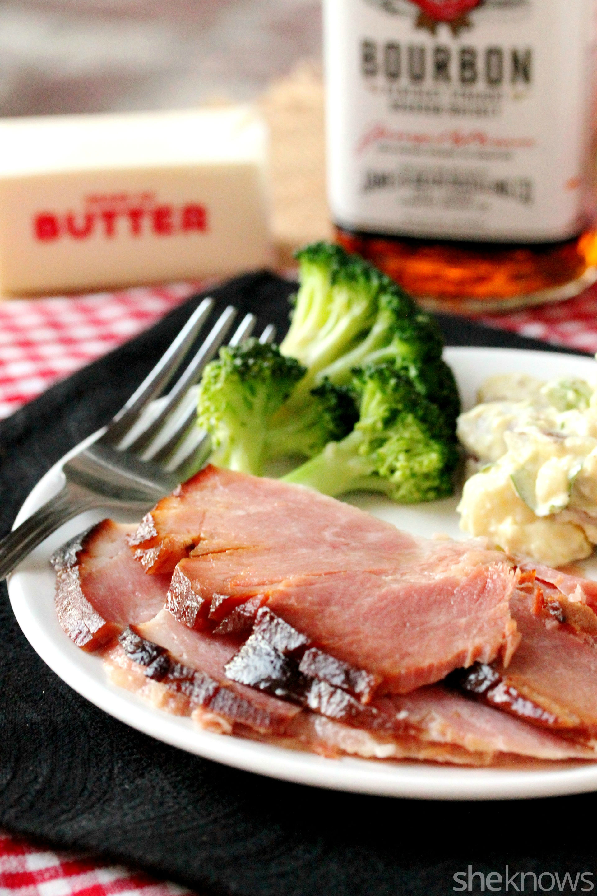 slow-cooker-ham-on-plate