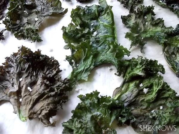 Crispy…Baked coconut-kale chips