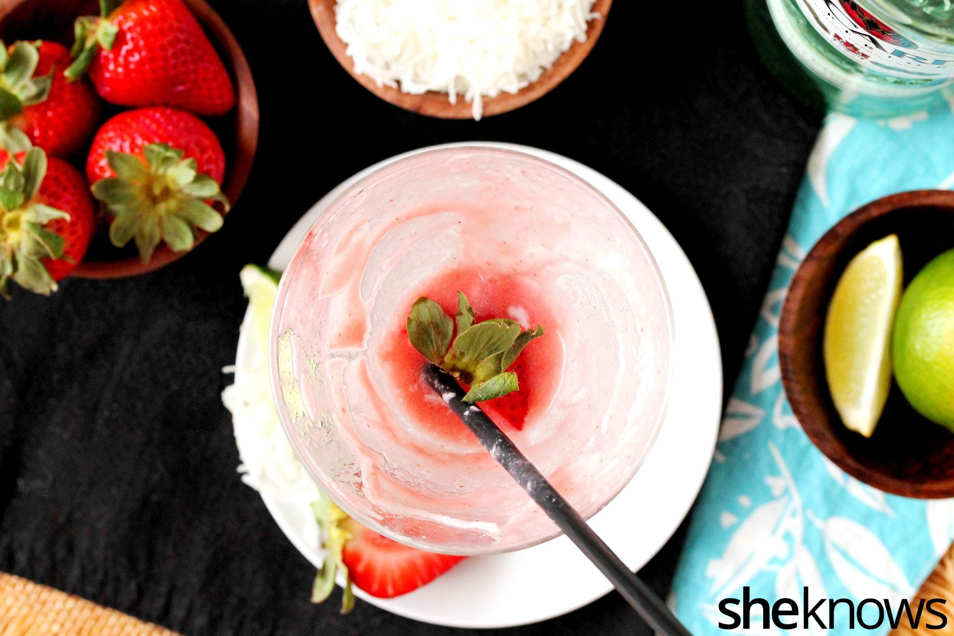 strawberry swirl daiquiri with straw