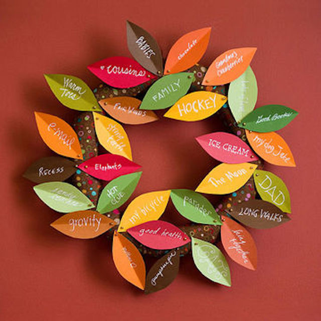 Fall Thanksgiving crafts for kids: wreath of plenty