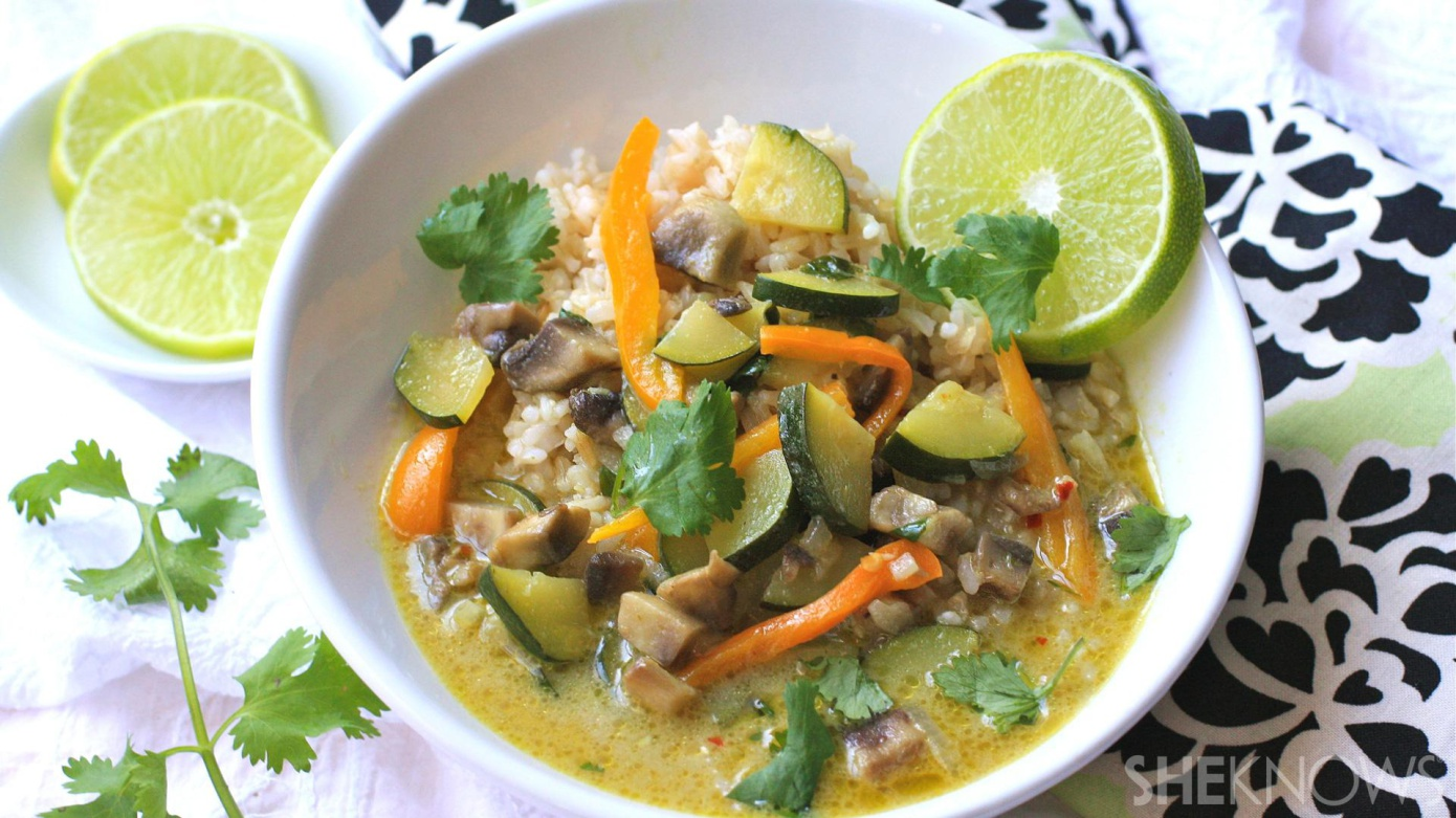 Going meatless can be super-tasty, like this dish for vegetarian green Thai curry