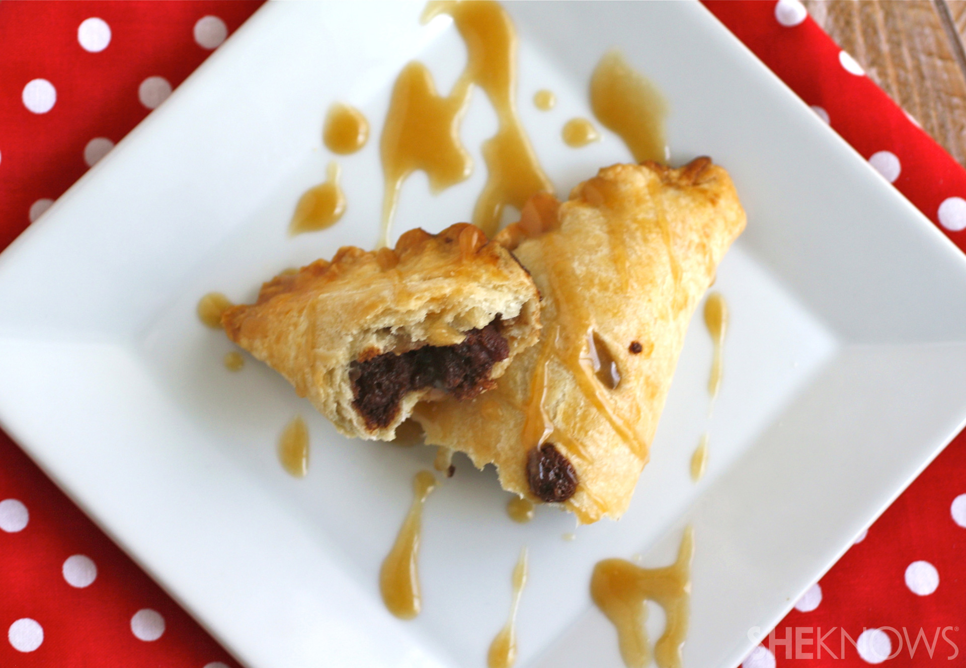 Chocolate-pecan hand pies with caramel drizzle