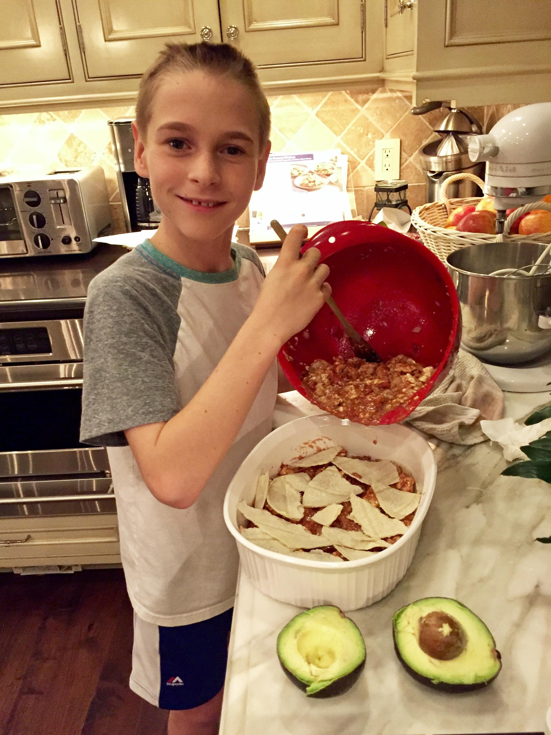 Alison Sweeney's son cooking