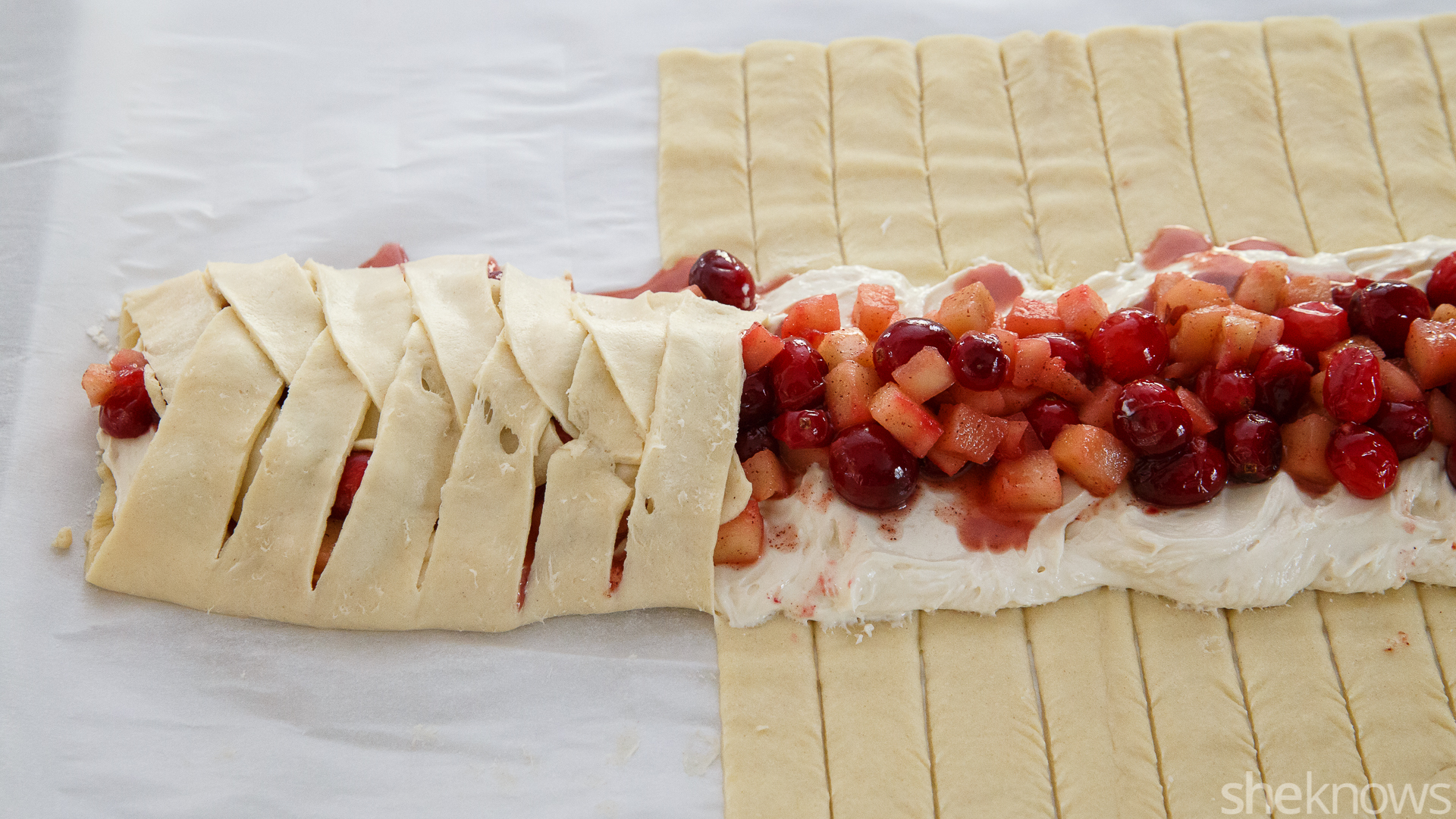 apple cranberry cream cheese danish dough folding