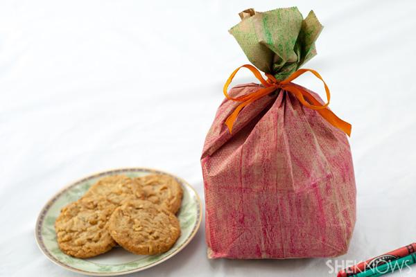 Paper bag apple goodie holder