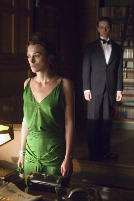 This green silk dress from the 30s sets the atmosphere perfectly in 'Atonement.'