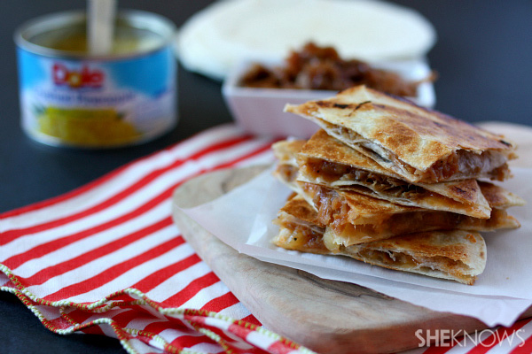 BBQ pork and pineapple quesadillas