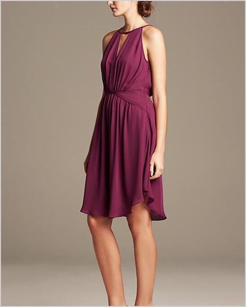 BR Monogram Chiffon Halter Dress in Lingonberry