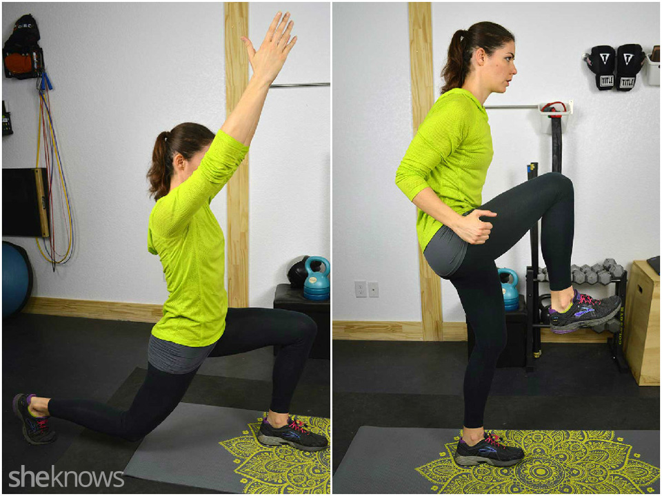 Backward lunge to knee, left and right sides