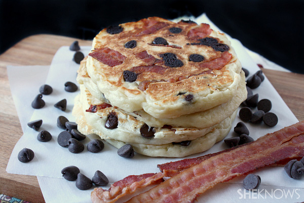 Bacon and chocolate pancakes