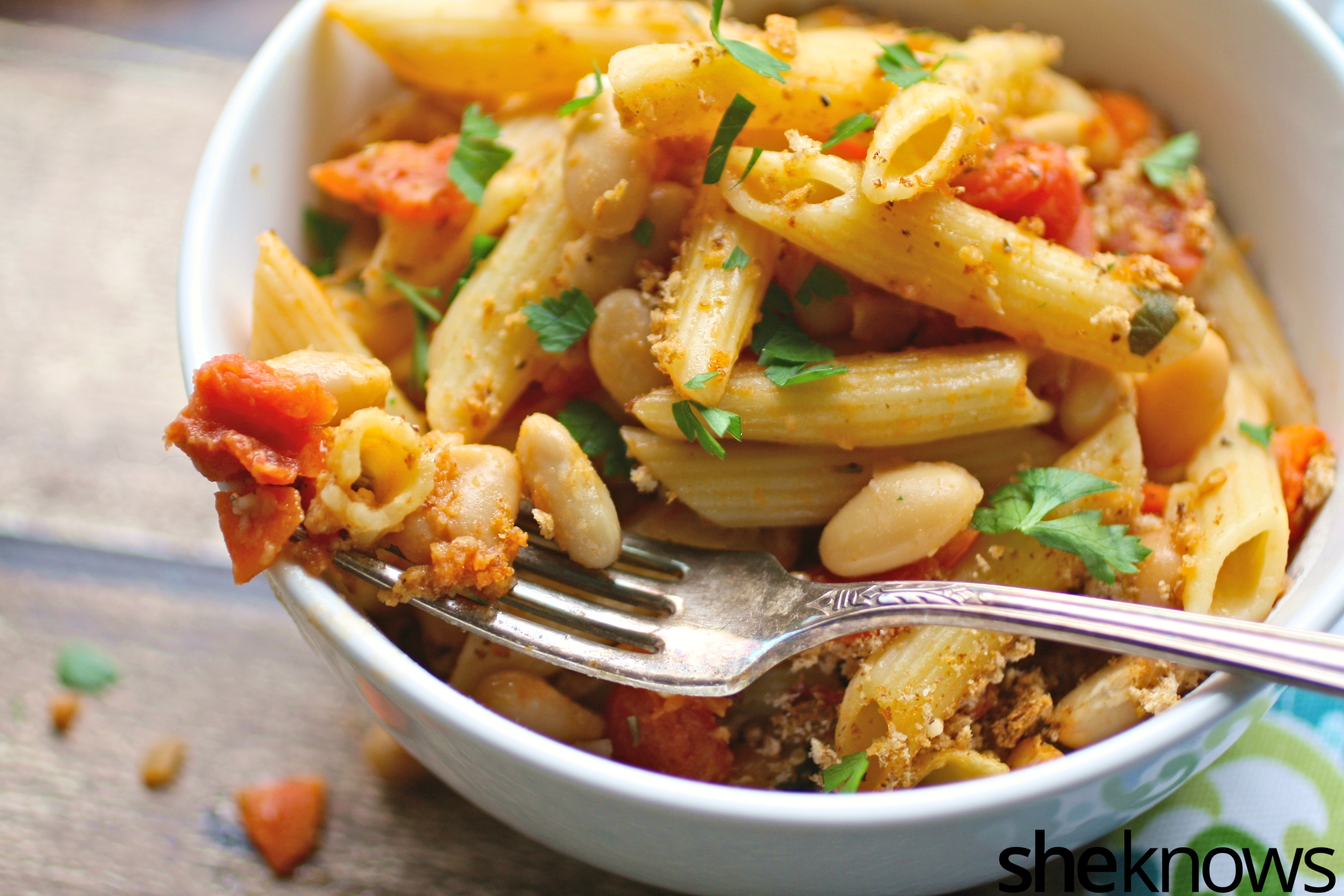 Dig into a bowl of baked pasta e fagioli for Meatless Monday