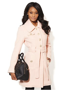 NY and CO Belted Boucle Coat
