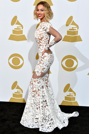 Beyonce's White Hot Michael Costello Gown